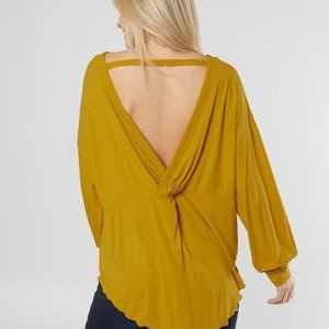 NWT Free People Shimmy Shake Gold Mustard Top